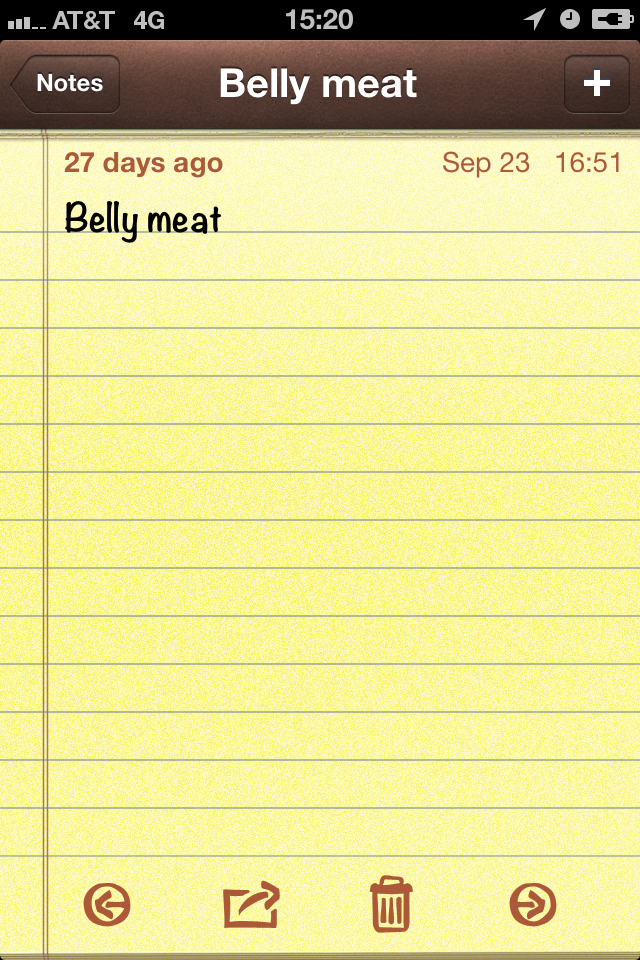 "Phrase ""Belly meat"""