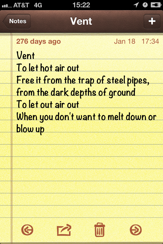 "Poem - Vent ""To let the hot air out"""