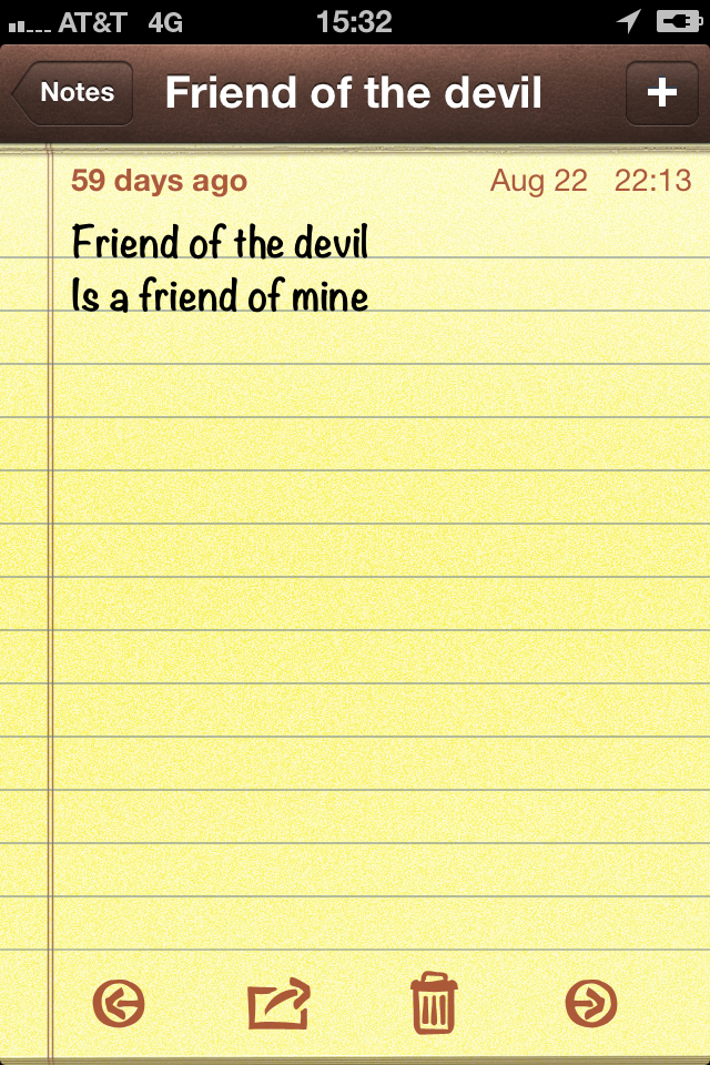 "Lines - ""Friend of the devil is a friend of mine"""