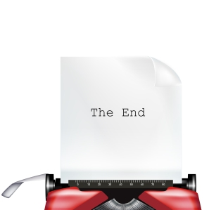 "typewriter with paper and ""the end"" typed"