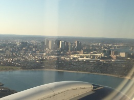 Boston skyline from airplane
