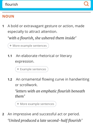Dictionary.com definition of flourish as a noun
