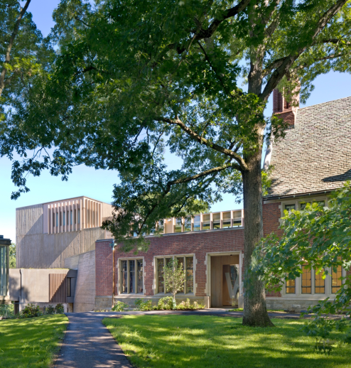 Image of the front of Pendleton West, a building on Wellesley College's campus