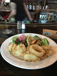 Fish tacos and onion rings at Hamilton's in Brookline