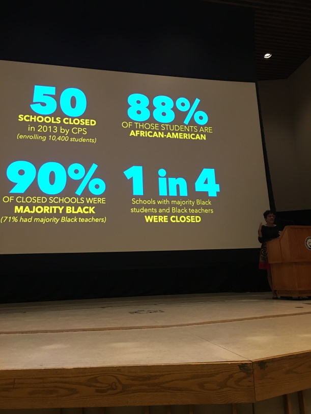 Slide from Eve Ewing lecture-50% schools closed by Chicago Public School; 90% of close schools were majority Black; 88% of students are African American; 1 in 4 schools with majority Black students and Black teachers were closed