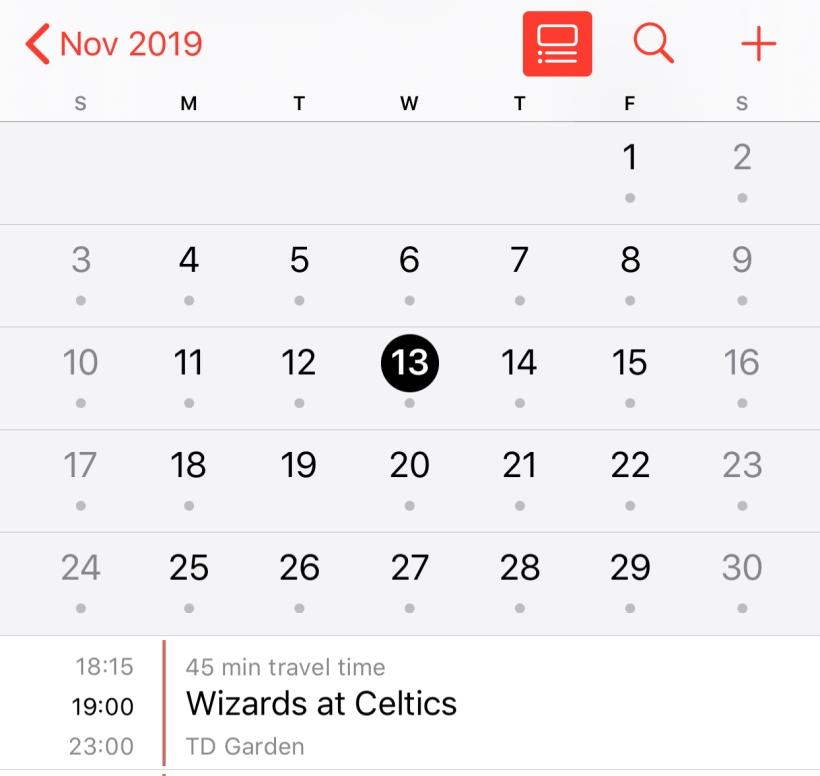 November 2019 calendar on Nov 13th - Wizards at Celtics
