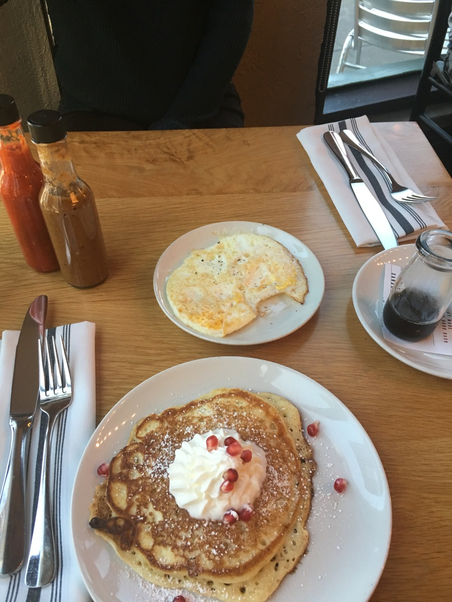 Pancakes and fried egg