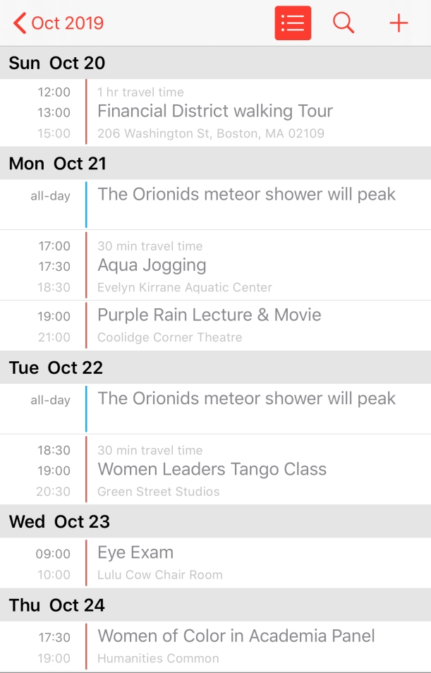 Calendar events Sun Oct 20 Financial District Walking Tour; Mon Oct 21 Aqua Jogging, Purple Rain Lecture & Movie; Tue Oct 22 Women Leaders Tango Class; Wed Oct 23 Eye Exam; Thu Oct 24 Women of Color in Academic Panel