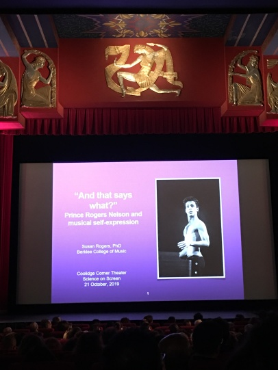 """""""And that says what?"""" Prince Rogers Nelson and musical self-expression Susan Rogers, PhD Berklee College of Music Coolidge Corner Theatre Science on Screen 12 October 2019"""
