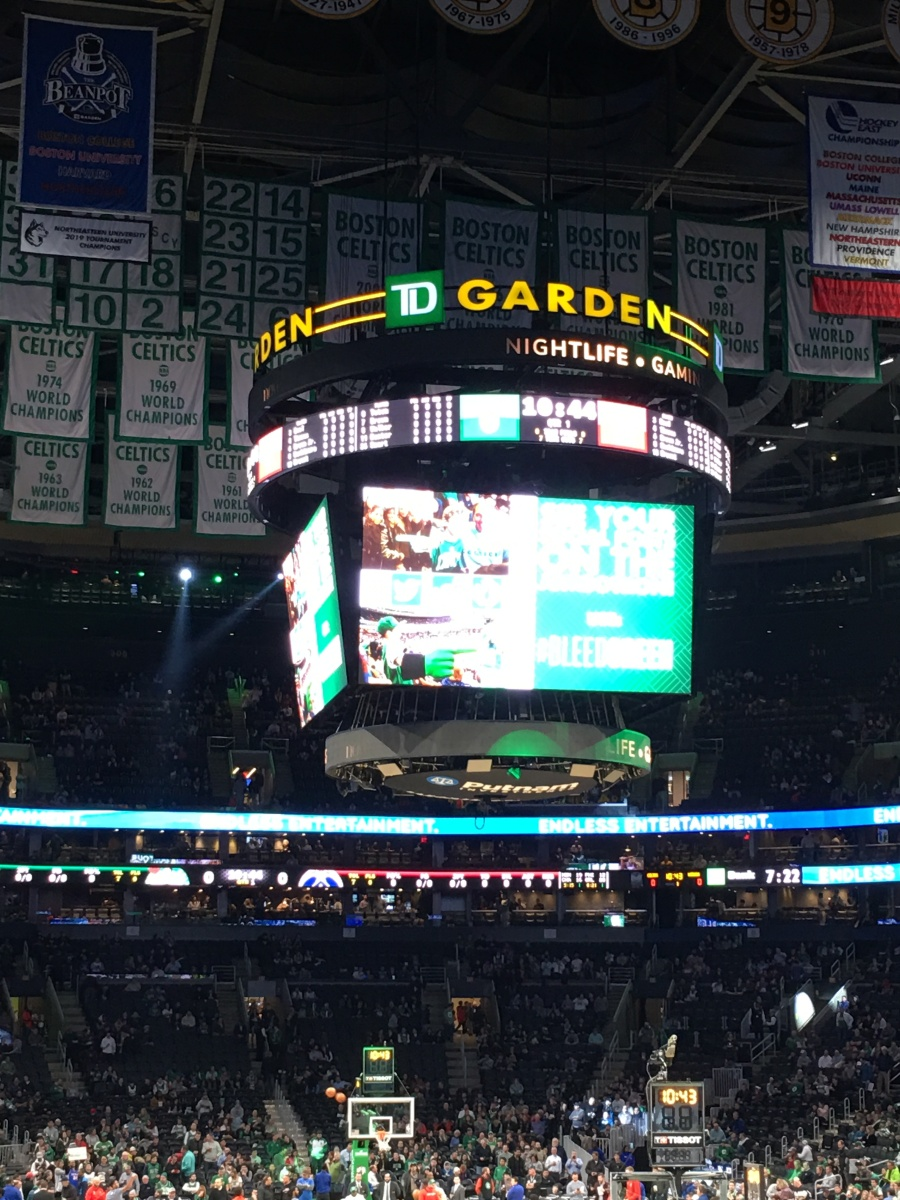 TD Garden scoreboard at Celtics vs. Wizards November 13, 2019